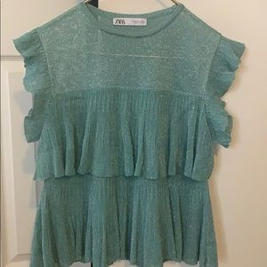 Blue Frill Blouse (S)